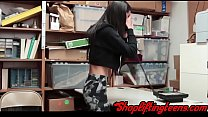 Little latina teen thief gets fucked after shoplifting