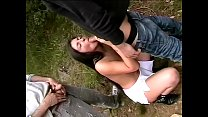 Wife tries the double penetration to the park