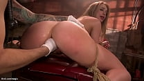 Big ass gagged brunette anal fucked