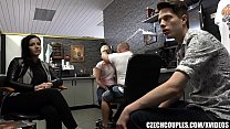 swallows cum - foursome group sex in public barbershop thumbnail