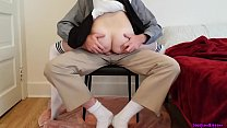 Little schoolgirl learns a deep lesson while getting tutored at home preview image