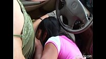 Two Half Naked Lesbians In Car Enjoying
