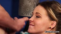 Wacky looker gets cumshot on her face gulping all the cum