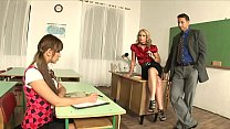 Charming Teacher Cathy Campbell calls the principal to discipline schoolgirl and they have a hot threesome
