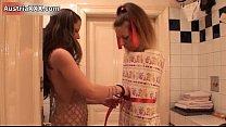 Nasty brunette slut gets horny showing