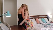 Blonde teen facesitting a lesbian milf