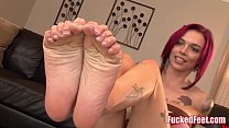 Red Head Anna Bell Peaks Gives Amazing Footjob in Fucked Feet Scene!