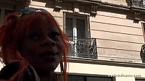 xxxcartoons ~ Busty french black whore catched up in the street fucked hard with cum on tits thumbnail