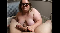Dick in her mouth, cum on her chest!