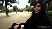 Cute brunette amateur deep throats outdoor