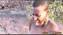 Rough outdoor deepthroat and body torment with African slutass-3