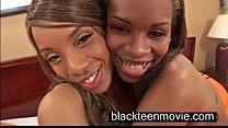 Two black teen cuties in a threesome in Black Ebony Porn Video