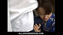 Mai Satsuki is a great geisha in a kimono that satisfys both of her businessmen thumbnail