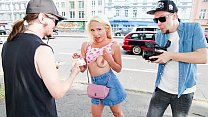 BUMS BUS - German teen blonde Gabi Gold picked up and banged in the bus