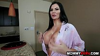 Step son gets boner from looking at mom's big fake tits