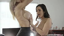 Busty mature lesbian spits on tight brown pussy then eats it