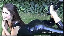Latex lover Olivias outdoor fetish wear and long rubber boots on brunette babe i