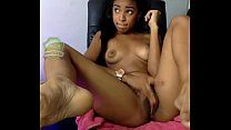 Horny  black hottie friend rubbing her pussy andd joking with her audience