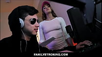 "Teen Stepsister Kenzie Madison Family Sex With Stepbrother Juan ""El Caballo"" Loco While He Plays Video Games"