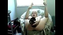 Teen girl fuck Self Ass with Giant dildo