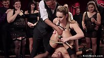Ebony slave is fisted in bdsm party