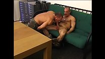Army hunks enjoy fucking hard and blasting loads on couch