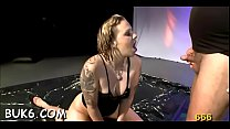Sexy beauty gets wet pissing from men during filming Vorschaubild