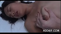 Perverted thai beauty enjoys riding a dong and getting orgasm