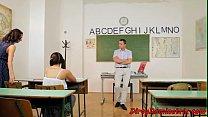 Schoolgirl domina riding her teachers cock