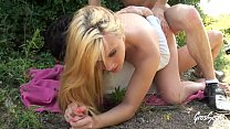Lana, at 18 she takes a double outdoors
