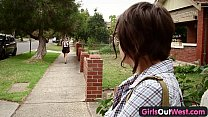 Girls Out West - Hairy lesbian students squirting and strap on thumbnail