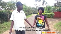 Chubby African girl sucks boyfriend's cock in shower