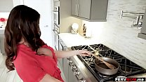 mom wank ~ Stepmom with huge boobs sucked me off in the kitchen thumbnail