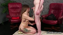 Hot peach gets jizz load on her face swallowing all the cum