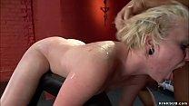 Bent over blonde rough banged