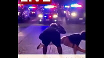 Some protest but she puts on show during riot for police officers supporting black live matters BLM