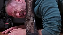 Redhead ebony pegging muscled man slave