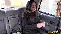 Horny brunette Julia sucks and fucks as her payment for the ride