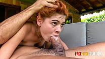 Cute Redhead Teen Gets a Morning Face Fuck from Older Guy
