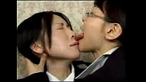Asian Lesbian Wild Tongue Kiss