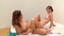 Sex and schoolgirls! Ainara teaches her hot young friend Judith about lesbian dildo sex
