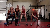 69porno: Fit MILFs Having Lesbian Sex In The Gym thumbnail