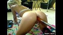 Blonde teen fucks her ass with a big dildo mechanical - WWW.POPPORN.NET