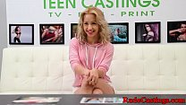 Real teen fucked and facialized at casting