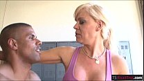Busty blonde shemale Joana Jet ass fucked by black shaft