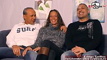 first time threesome for german couple at casting