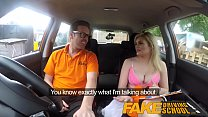 Fake Driving School Posh busty blonde examiner fucks and swallows in POV Preview