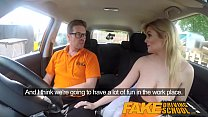 Fake Driving School Posh busty blonde examiner fucks and swallows in POV Image