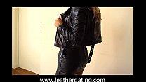 Blonde girl in black leather skirt and leather biker jacket pornhub video