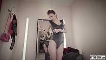 Image: Busty teen Mila Azul shows her big natural tits in a lingerie shop